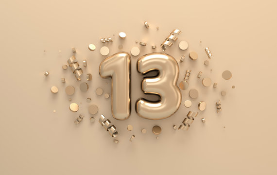 Golden 3d number 13 with festive confetti and spiral ribbons. Poster template for celebrating 13 anniversary event party. 3d render