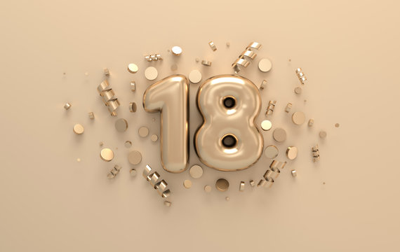 Golden 3d number 18 with festive confetti and spiral ribbons. Poster template for celebrating 18 anniversary event party. 3d render