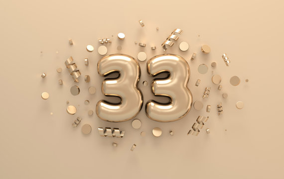 Golden 3d number 33 with festive confetti and spiral ribbons. Poster template for celebrating 33 anniversary event party. 3d render