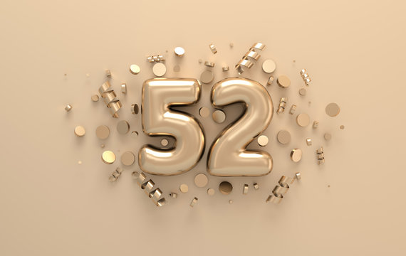 Golden 3d number 52 with festive confetti and spiral ribbons. Poster template for celebrating 52 aniversary event party. 3d render