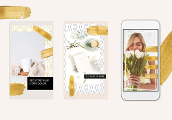 Gold Social Media Stories Layout Set