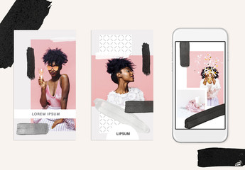Black and White Social Media Stories Layout Set