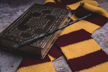 Subjects of the school of magic. Scarf, magic wand, book of spells on grey stone background. Wall mural