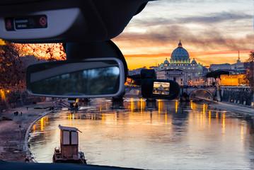 Dashcam car camera view of Saint Peter's Church, Rome, Italy