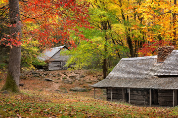 Cabins in great smoky mountain park Wall mural