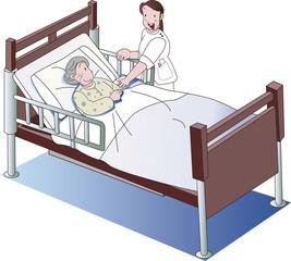 介護ベッドの老人と介護士