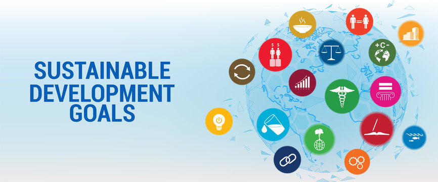 SDG - Sustainable Development Goals -  long-term project the united nations. 17 aspects in 17 colorful icons, Sustainable Development Goals. Transformation of our world, a set of goals for the future