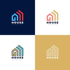 Abstract arrows Real estate house vector logo icon design template elements
