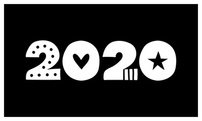 2020 New Year Black and White Vector Illustration