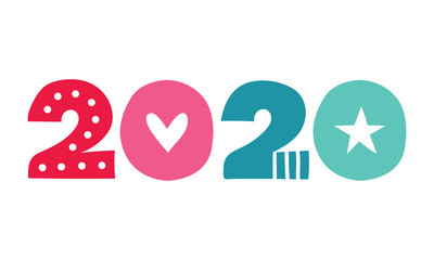 2020 New Year Coloured Vector Illustration