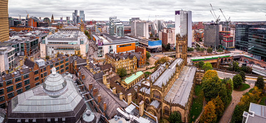Aerial view of Manchester in the autumn, United Kingdom