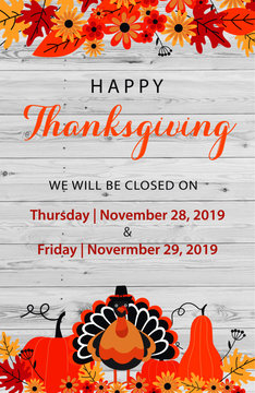 Thanksgiving office message with pumpkins and turkey and maple leaves