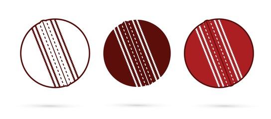 Cricket ball outline, silhouette cartoon graphic vector