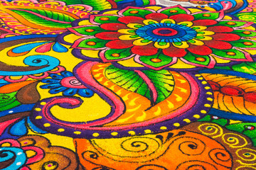 Beautiful colorful Indian traditional rangoli decoration for Diwali or Deepavali celebration
