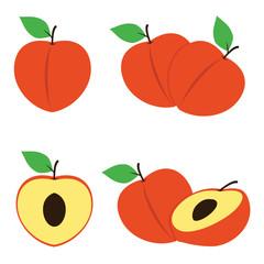 Peach Illustration Fruit Vector Design Image set