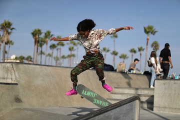 A woman skates in the Venice Beach skate park in Los Angeles