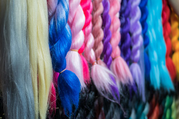 Close-up view of the colorful artificial braiding hairs