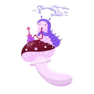 Blue caterpillar smokes a hookah. Amanita. Character from Alice. Vector graphics.