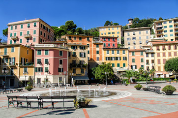 Breathtaking view of Liguria region in Italy. Awesome villages of Zoagli, Cinque Terre and Portofino. Beautiful Italian city with colorful houses.