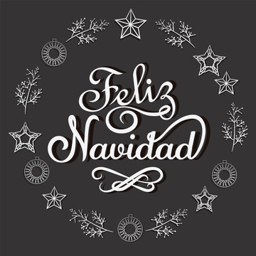 Merry Christmas in Spanish vector illustraton. Lettering and ornaments.