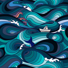 sea pattern with waves, tentacles, paper boat and whale tail