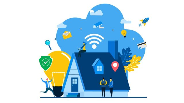 Concept home with technology system.Smart home control concept with Tiny People Character Concept Vector Illustration, Suitable For web landing page,Wallpaper, Background,banner,Book Illustration