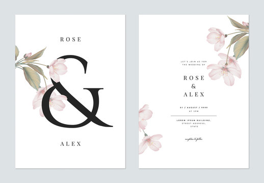 Floral wedding invitation card template design, Somei Yoshino sakura flowers with leaves with ampersand lettering on white, pastel vintage theme
