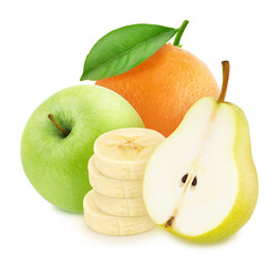 Composition with mix of whole and cutted fresh fruits isolated on a white background with clipping path.