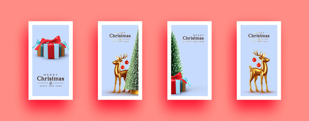 Fotomurales - Xmas Set of holiday backgrounds. Merry Christmas and Happy New Year. Collection of greeting cards, covers, web posters, banners. holiday brochures, flyers. Christmas trees, gold deer and gift boxes