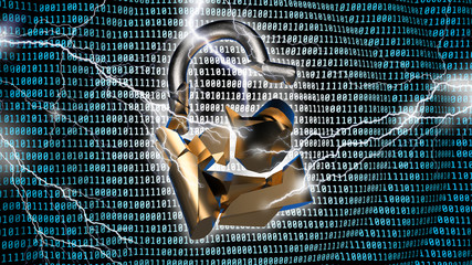 Data breach concept with broken padlock and binary code background. 3D illustration