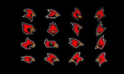 set of cardinal bird red logo icon design vector with black background