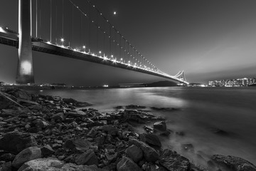 Fototapete - Tsing Ma bridge in Hiong Kong at dusk