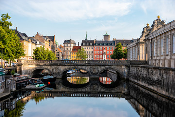 Foto auf AluDibond Schiff Copenhagen, Denmark. View of old Marmorbroen or Marble bridge with the reflection. The historical center of the Danish capital.