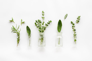 Herbal formulations for health care on white background top view pattern Fotomurales
