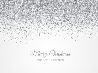 Wall Mural - Merry Christmas and New Year background. Silver glitter decoration