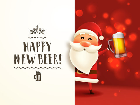 Beer Santa lettering poster. Christmas card with Santa Claus holding craft beer mug and handwritten typography. Happy new beer tagline. Invitation to a party.