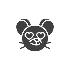 Heart eyes rat emoticon vector icon. filled flat sign for mobile concept and web design. In love mouse face emoji glyph icon. Chinese 2020 year of the rat symbol, logo illustration. Vector graphics