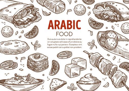 Restaurant menu with Arabic traditional food sketch banner