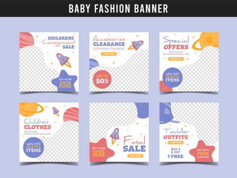 Baby kids fashion sale square banner template. Promotional banner for social media post, web banner and flyer Vol.4
