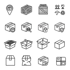 Box icon set with white background. Thin Line Style stock vector.