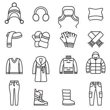 Winter clothes, Warm clothes  isolated line icons set with white background. Thin Line Style stock vector.
