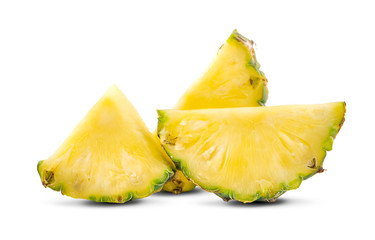 pineapple fruit with slices an isolated on white background
