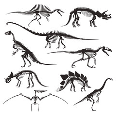 Prehistoric animals bones, dinosaur skeletons isolated icons