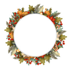 Circle christmas frame for card or invitation with poinsettia, lollipop, candy, gingerbread, berry, leaves, branches. Hand drawn illustration.