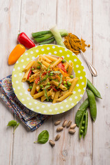 pasta with mixed vegetables and curry