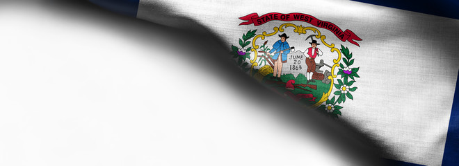 Fabric texture of the West Virginia Flag background - flag on white background - right top corner - free copy space