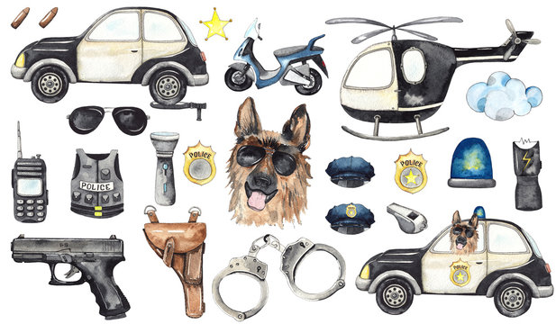 Watercolor cartoon cute set Police illustration. Police car, helicopter, motorcycle, handcuffs, gun, holster, body armor, glasses, cap, stun gun, Baby shower clip art