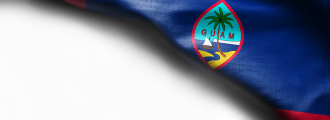 Fabric texture of the Guam Flag background - flag on white background - right top corner - free copy space