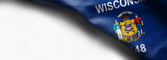 Flags of the U.S. states: Waving Fabric Flag Wisconsin - flag on white background - right top corner - free copy space