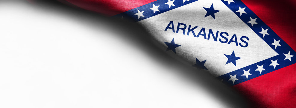 Fabric texture of the Arkansas Flag background - flag on white background - right top corner - free copy space